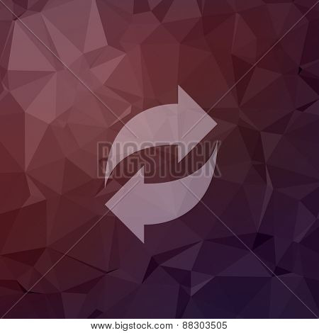 Reload arrow icon in flat style for web and mobile, modern minimalistic flat design. Vector white icon on abstract polygonal background