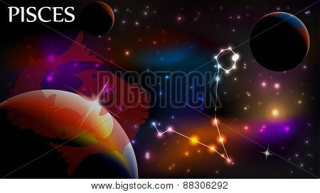 Pisces - Space Scene with Astrological Sign and copy space