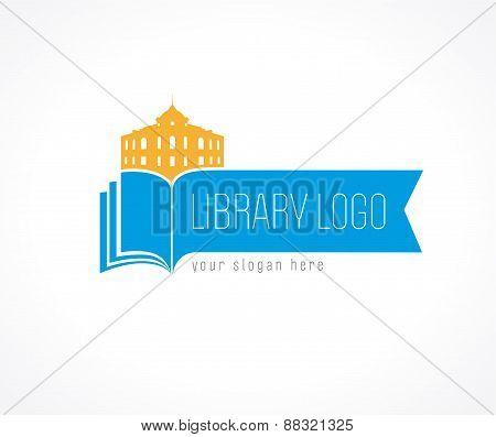 University vector logo. Library, museum, college, academy or high school educational icon. Open book and old historic building vector sign.