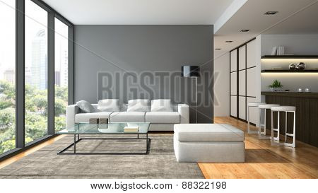 Interior of the modern design  loft  with black lamp 3D rendering