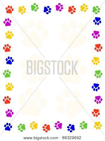Paw Prints Frame / Border On White Background