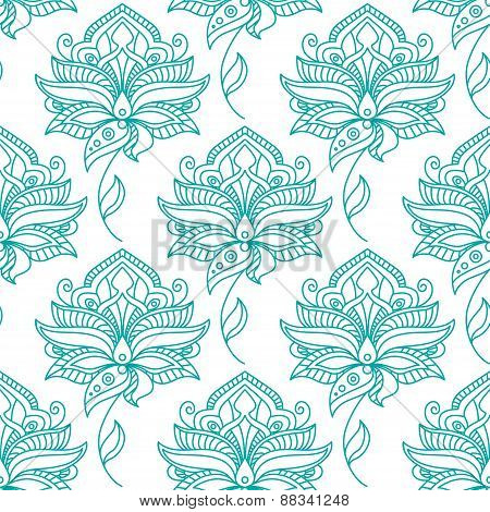 Seamless persian outline blue flowers pattern
