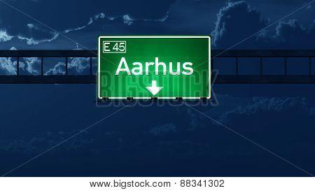 Aarhus Denmark Highway Road Sign at Night 3D artwork poster