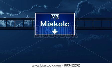 Miskolc Hungary Highway Road Sign At Night