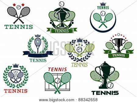 Tennis emblems with equipment and heraldic elements