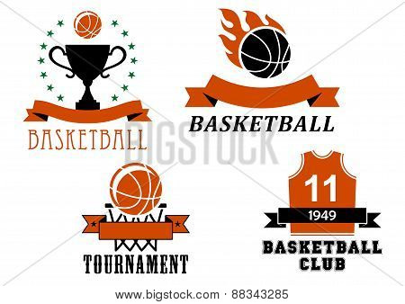 Basketball club and tournament emblem templates including basketball ball with flame, uniform jersey, trophy cup, ball in basket, decorated ribbon banners and stars poster