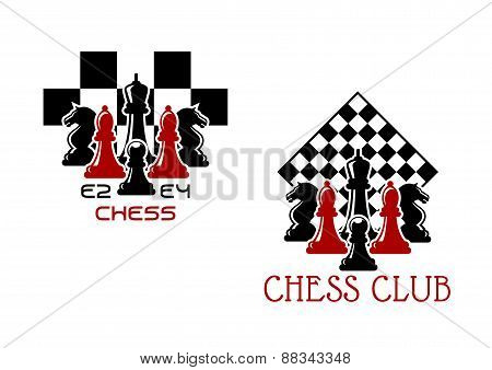 Chess club sport emblems or symbols