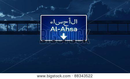 Al Ahsa Saudi Arabia Highway Road Sign At Night