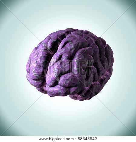 Paper human brain with thoughts, ideas and concepts