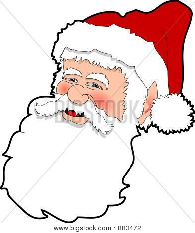 cartoon graphic depicting the face of santa claus poster