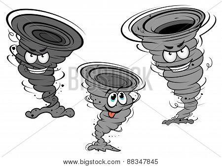 Cartoon tornado and cyclone characters