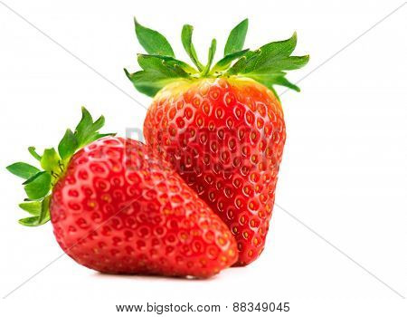 Strawberries isolated on a white background. Fresh ripe strawberries on white