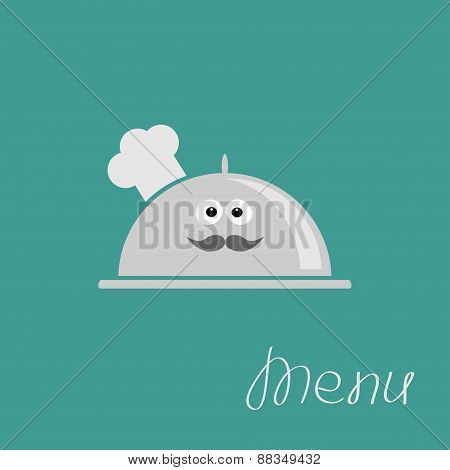 Silver Platter Cloche Chef Hat With Eyes And Moustache. Menu Card Flat Design