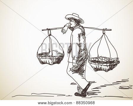 Man carrying a yoke on his shoulder, Vector sketch, Hand drawn illustration