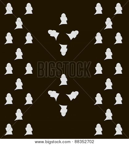 Amusing little gray ghosts on black background. Funny Halloween pattern poster