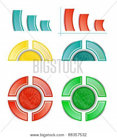 Set, collection of six isolated, modern, colorful - blue, yellow, red, green - pie charts, diagrams,