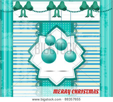 Vintage, blue, white, striped christmas card with four blue bulbs, bows, text Merry Christmas, retro