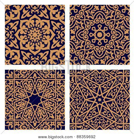 Arabic geometric seamless patterns with foliage elements