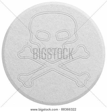 Round White Ecstasy pill isolated on white poster