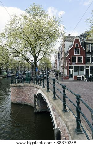Canal In Amsterdam With Bridge, Prinsengracht, Reguliersgracht