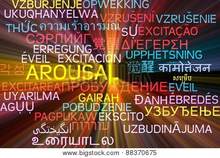 Background concept wordcloud multilanguage international many language illustration of arousal glowing light