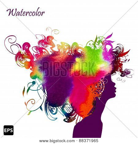 Beautiful fashion woman with floral abstract elements