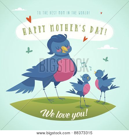 Happy Mother's Day greeting card with cartoon characters. Vector illustration.