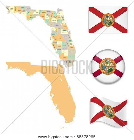 High Detailed Florida Map and Flag Icons