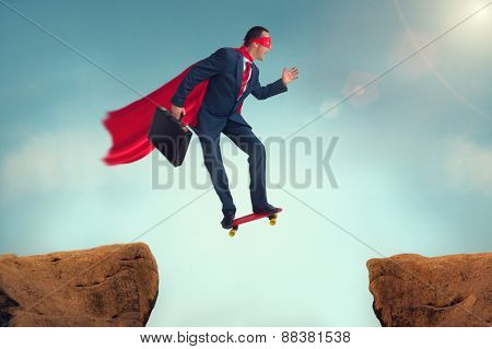 Funny Superhero Businessman On A Skateboard