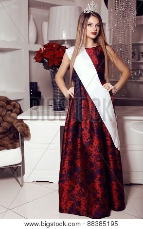 Beautiful Girl In Elegant Red Dress,crown And Title Ribbon