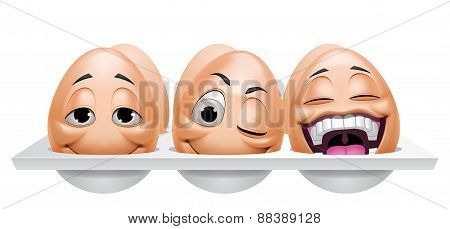 Cartoon Eggs Characters In An Eggcup