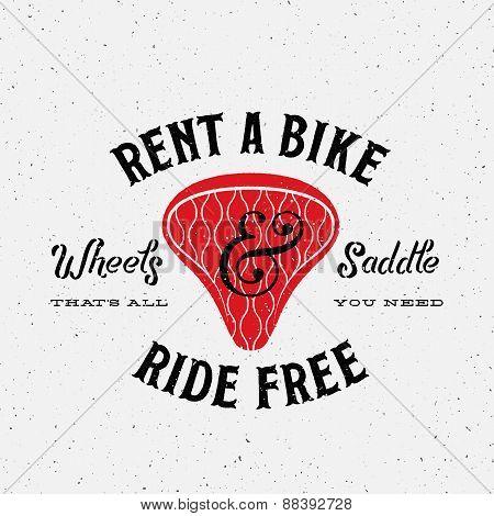 Bike Rental Retro Vector Label or Logo Template