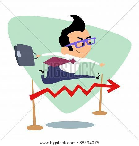 Businessman Steeplechase Jump Over The Barrier Graph Of Sales Bu