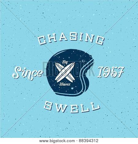 Chasing Swell Abstract Retro Surfers Vector Label or Logo Template