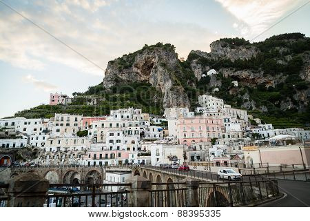 Amalfi, Italy - July 21: View of the town of Amalfi