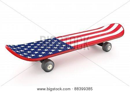 Skateboard With Usa Flag