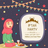 Religious Muslim girl in hijab, concept for Iftar Party celebrations in the holy month of prayers, Ramadan Kareem.  poster