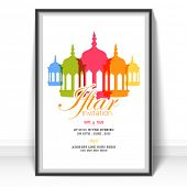Islamic holy month of prayers Ramadan Kareem celebrations, Invitation card design for Iftar Party with colorful lanterns on white background.  poster