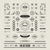 Set of linear thin line art deco retro vintage design elements with frame corner badge in geometric shape poster