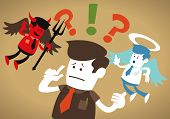 Great illustration of Retro styled Corporate Guy caught up in a Catch-22 battle of wills with both a devil and an angel helping him to decide. poster