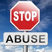 stop abuse of children and general power no domestic violence prevention warning sign poster