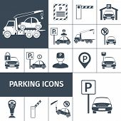 Parking lot facilities black decorative icons set isolated vector illustration poster