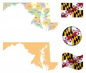 High Detailed Maryland Map and Flag Icons poster
