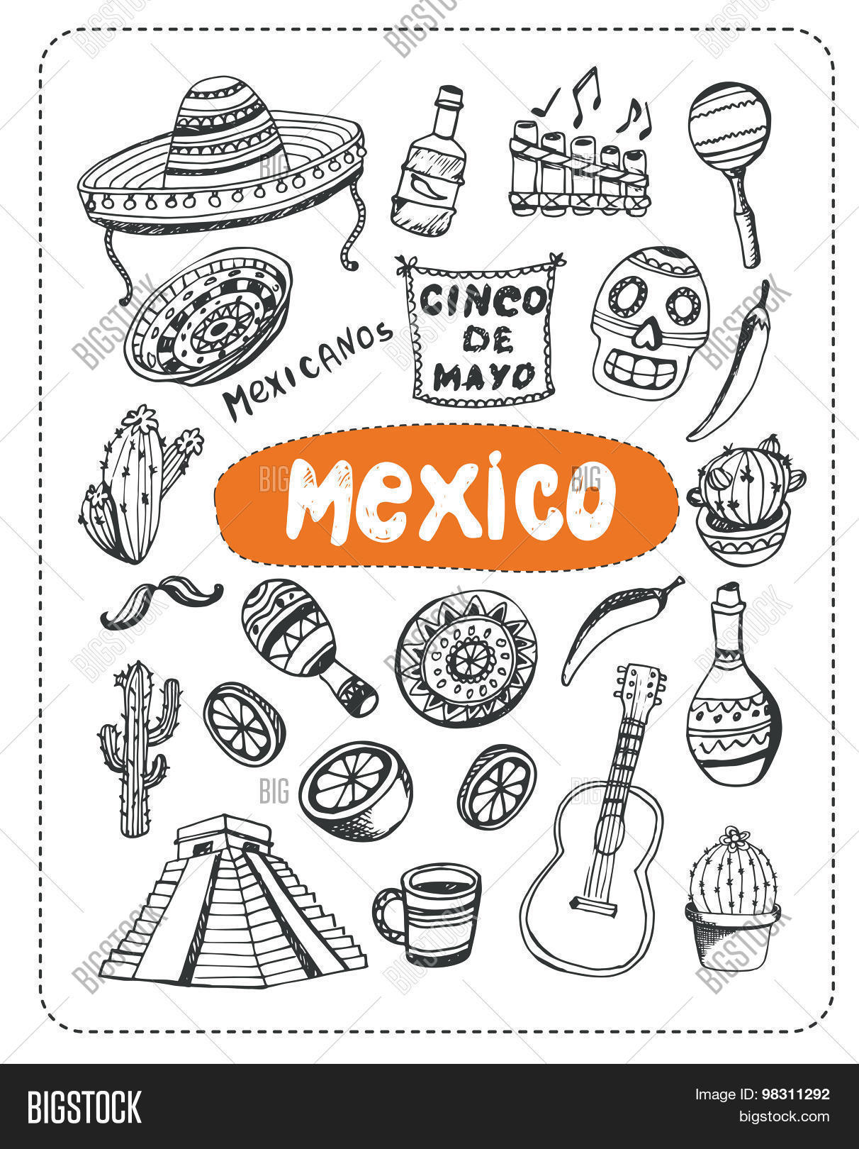 Mexican associated symbols vector photo bigstock mexican associated symbols mexican national and cultural related and sketches with pen mexican ethnic elements biocorpaavc
