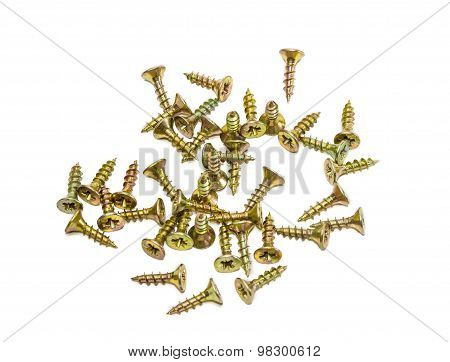 Several Short Wood Screws With Countersunk Head On Light Background