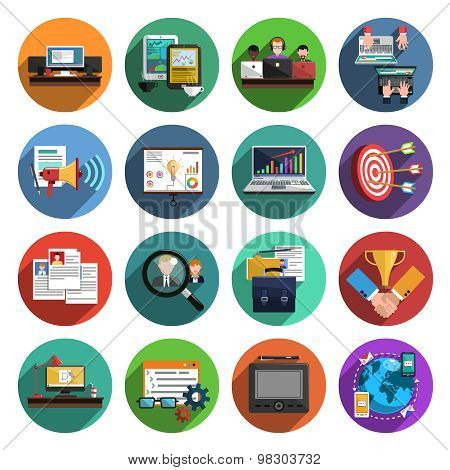 Freelance flat round icons collection
