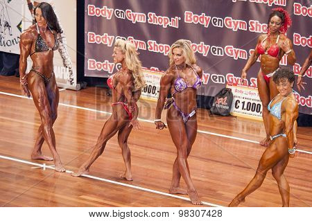 Female Bodybuilders Flex Their Triceps In A Lineup Comparison