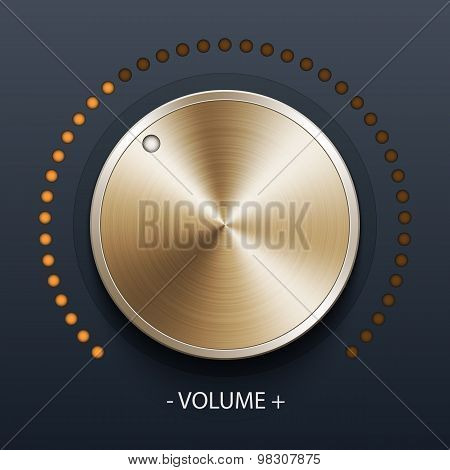 Volume Knob With Gold Texture