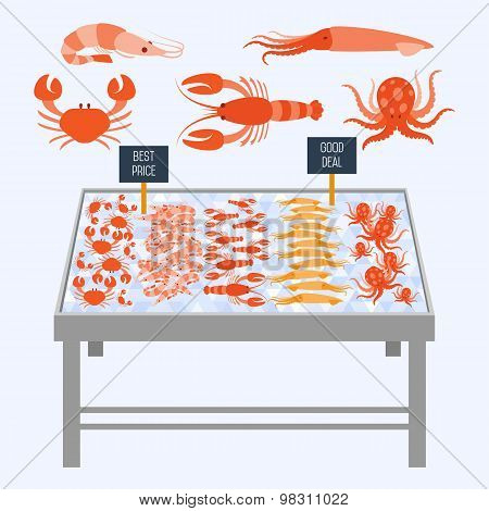 Supermarket shelves with fresh seafood on ice cubes. Fresh seafood. Seafood vector. Seafood. Food shelves, fish shelves. Shelves for Icing Food. Store shelves. Vector shelves. Seafood on the shelves.