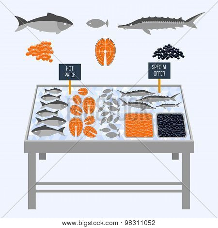 Supermarket shelves with fresh fish on ice cubes. Fresh seafood. Seafood vector. Seafood. Food shelves, fish shelves. Shelves for Icing Food. Store shelves. Vector shelves. Salmon on the shelves.